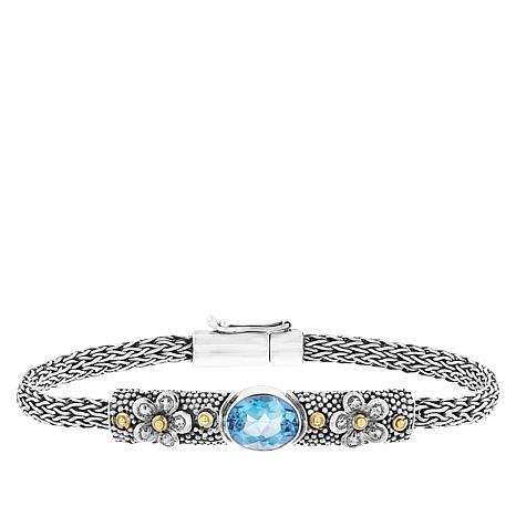 Bali Designs Swiss Blue Topaz Flower Chain Bracelet