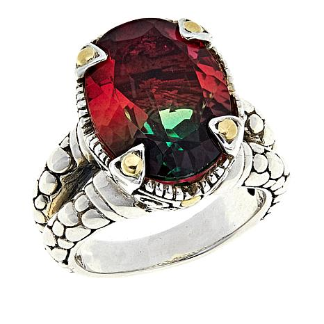 Bali Designs Watermelon Quartz Triplet 2-Tone Oval Ring