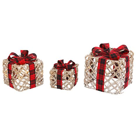 Battery Operated Lighted Filigree Holiday Gift Bo W Bows Set Of 3