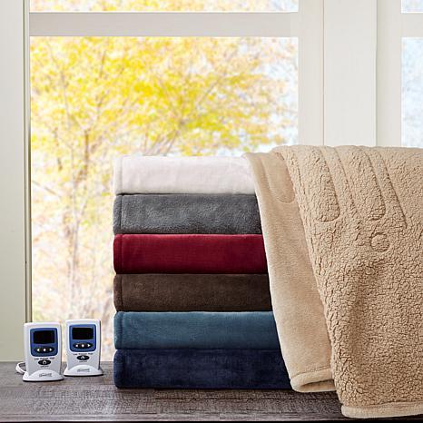 Beautyrest Microlight/Berber Heat Blanket - Twin/Gray