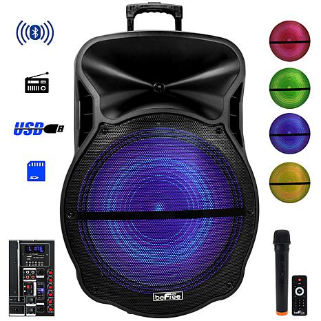 "beFree Sound 18"" Bluetooth Portable Rechargeable Party Speaker w/ LEDs"
