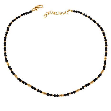 "Bellezza 18"" Bronze Black Spinel Beaded Station Necklace"