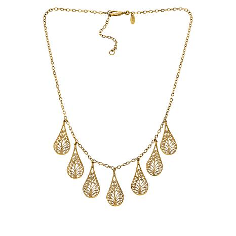 "Bellezza 18"" Bronze Floral Filigree Pear Drop Necklace"
