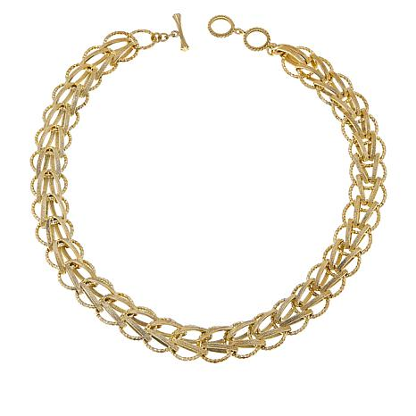 "Bellezza 20"" Bronze Textured Woven-Link Necklace"