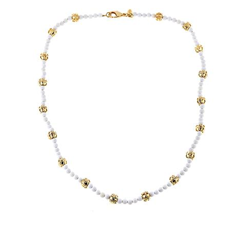 "Bellezza 20"" White Agate Textured Bead Necklace"