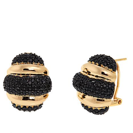 Bellezza 4.30ctw Black Spinel Bronze Ribbed Dome Earrings