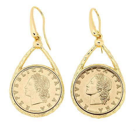 Bellezza 50 Lira Coin Bronze Hammered Drop Earrings
