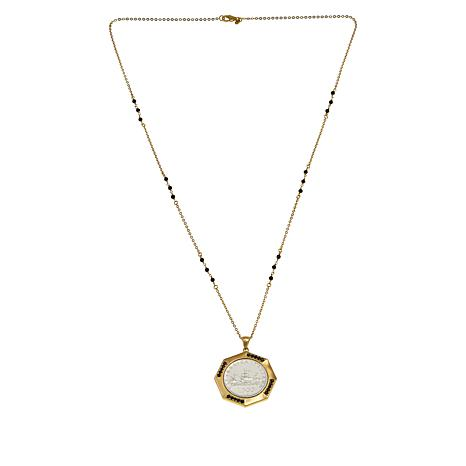 Bellezza 500 Lira Coin Bronze Black Spinel Pendant with Station Chain