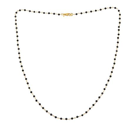 "Bellezza Black Spinel Faceted Bead Bronze 30"" Link Necklace"