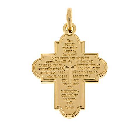Bellezza Bronze Engraved Lord's Prayer Cross Pendant