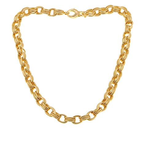 "Bellezza Bronze Ribbed Triple Oval Rolo-Link 20"" Lobster Necklace"