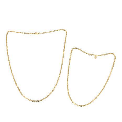 Bellezza Bronze Set of 2 Singapore-Link Necklaces