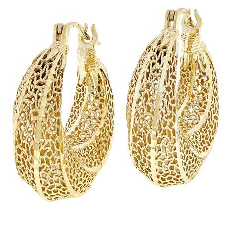 Bellezza Bronze Twisted Domed Hoop Earrings