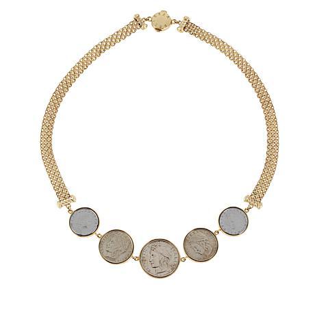 Bellezza Italian Coin Graduated Bismark Chain Necklace