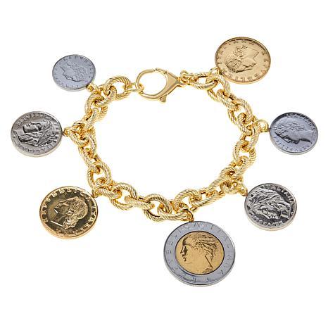 Bellezza Multi-Lira Coin Ribbed Link Charm Bracelet