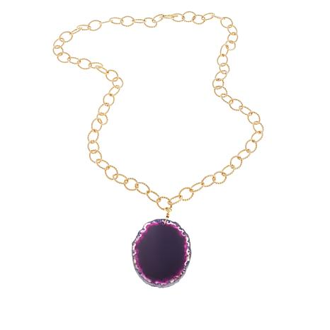 "Bellezza Purple Agate Bronze 32-1/2"" Drop Necklace"