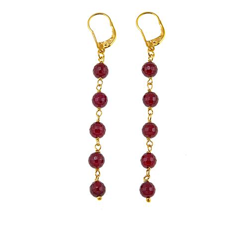 Bellezza Red Agate Bronze Beaded Drop Earrings