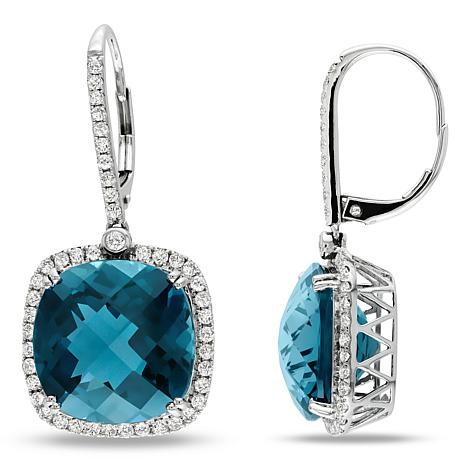 Bellini  14K Gold London Blue Topaz Diamond-Accented Drop Earrings