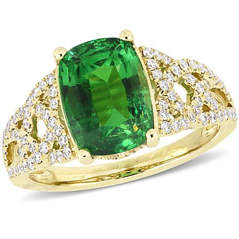 Bellini  14K Gold Tsavorite and Diamond Braided Cocktail Ring