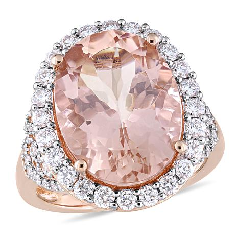 Bellini 14K Rose Gold Diamond and Morganite Halo Cocktail Ring