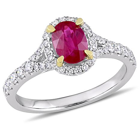 Bellini 14K Two-Tone Oval Ruby and Diamond Halo Ring