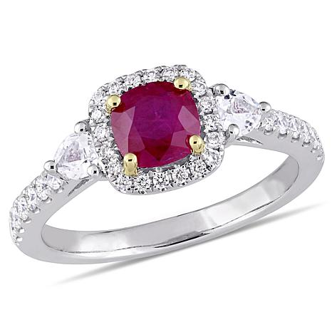 Bellini 14K Two-Tone Ruby, White Sapphire and Diamond Halo Ring