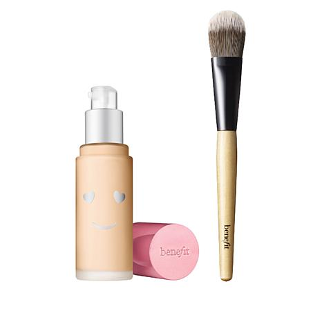 Benefit Cosmetics 01 Fair Cool Hello Happy Foundation and Brush