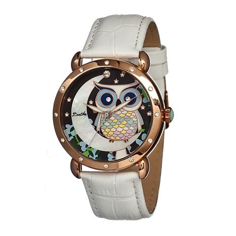 Bertha Ashley Mother-of-Pearl Dial Leather Strap Watch