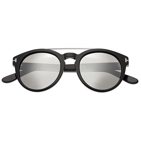 Bertha Ava Polarized Sunglasses with Black Frame and Silver Lenses