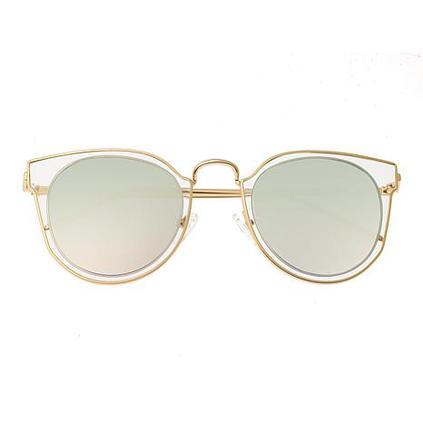 Bertha Harper Polarized Sunglasses with Gold Frames and Clear Lenses