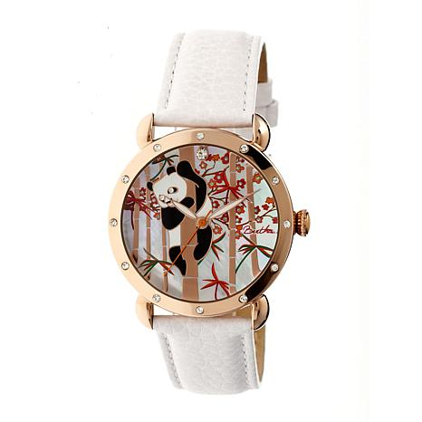Bertha Lilly Mother-of-Pearl Dial Leather Strap Watch