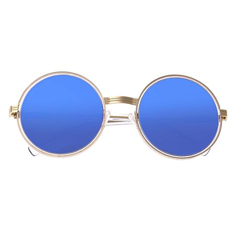 Bertha Riley Polarized Sunglasses with Gold Frame and Blue Lenses