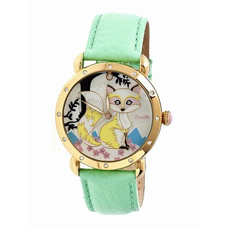 Bertha Vivica Mother-of-Pearl Dial Leather Strap Watch