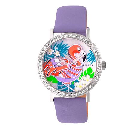 "Bertha Watches ""Luna"" Flamingo Crystal-Accented Leather Strap Watch"