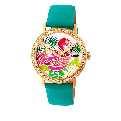 """Bertha Watches """"Luna"""" Flamingo Crystal-Accented Leather Strap Watch"""
