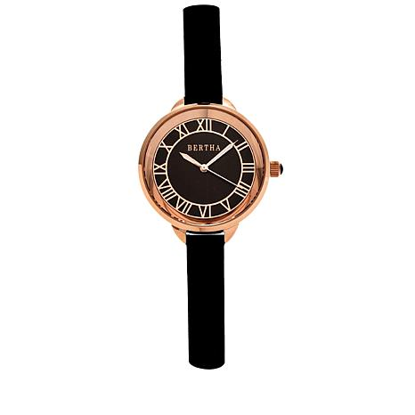 "Bertha Watches ""Madison"" Leather Strap Watch"