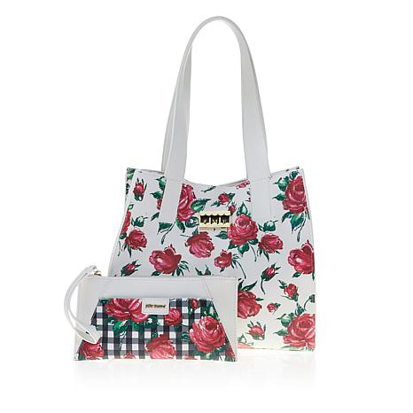 Betsey Johnson Works Hard for Money Tote with Charger and Wristlet
