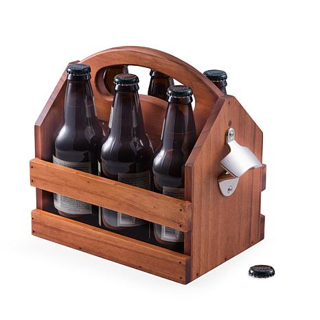 Bey-Berk 6-pack Bottle Caddy with Attached Opener