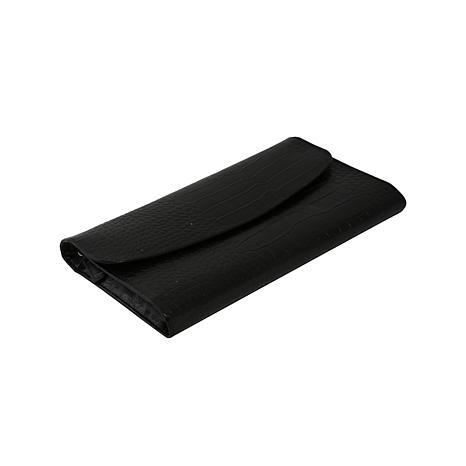 "Bey-Berk Black ""Croco"" Leather Multi Compartment Jewelry Clutch"