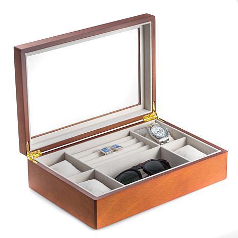 Bey-Berk Cherry Wood Valet and Watch Box