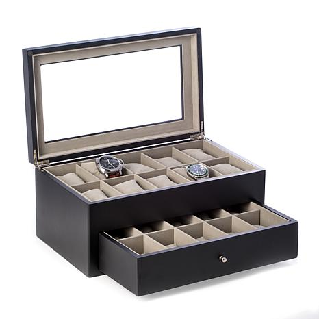Bey-Berk Matte Black Wood 20 Watch Box