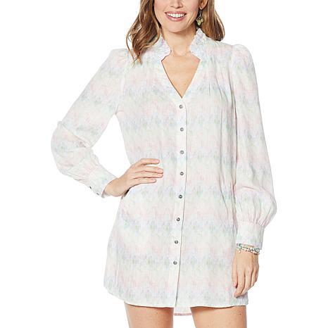 Billy T Coastal Blooms Button-Front Shirt Dress