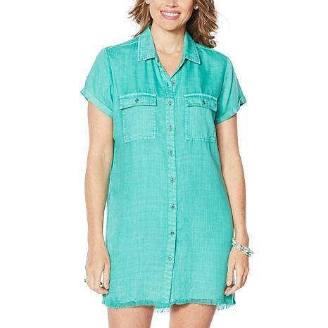 Billy T Happy Summer Button-Up Shirt Dress