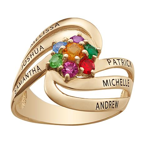 Birthstone Crystal Goldtone Sterling Silver Swirl Family Ring