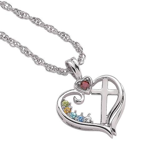 """Birthstone """"Heart and Cross"""" Pendant with 20"""" Chain"""