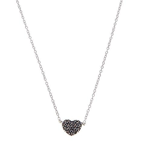 "Black Marcasite Heart Pendant Drop 13"" Choker Necklace"