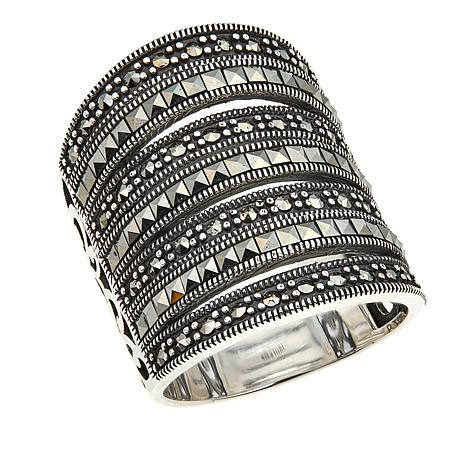 Black Marcasite Sterling Silver 7-Row Ring