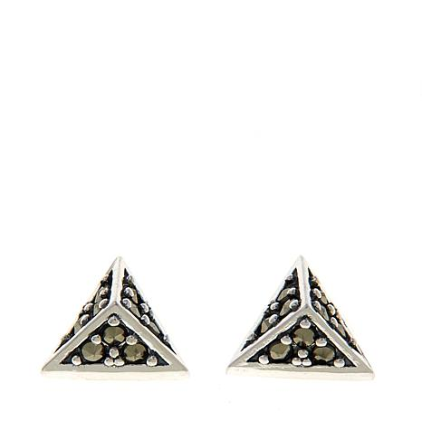 Black Marcasite Sterling Silver Pyramid-Design Stud Earrings