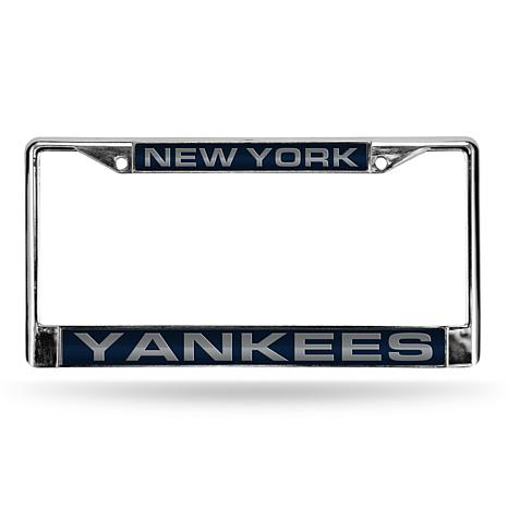 Blue Chrome License Plate Frame - New York Yankees