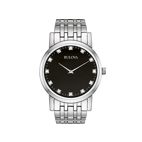 Bulova Black Dial Diamond Dial Marker Watch